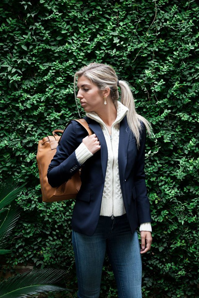 Veronica Beard blazer + Tory Burch backpack