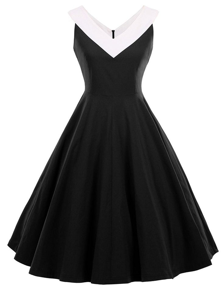AmazonSmile: GownTown Womens 1950s Vintage Dress V-Neck Dresses Swing Stretchy Dresses: Clothing