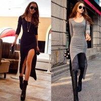 Långärmad Slim Oregelbunden Asymmetric Sexy Long Dress