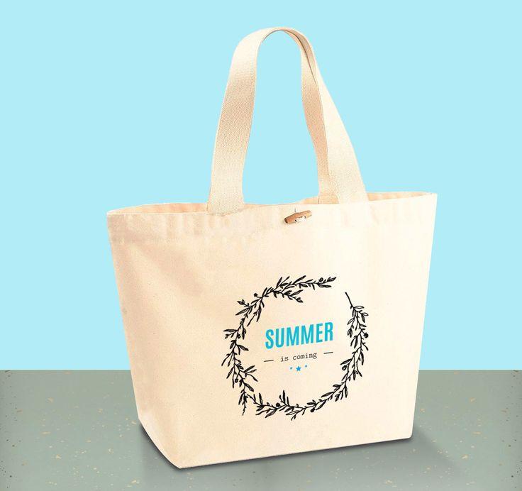 """Tote Bag CABAS 100% Coton BIO - """"Summer is coming"""""""