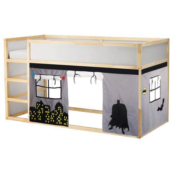 Batman design loft bed curtain. Hmmm...