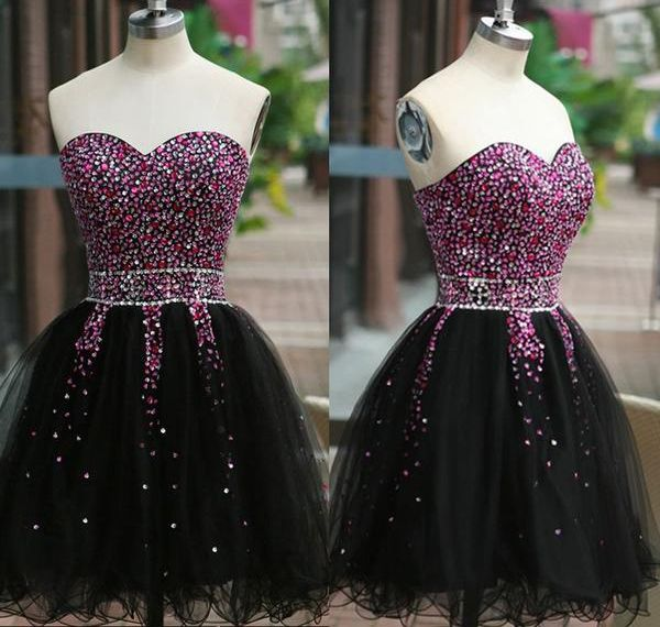 Exquisite Sweetheart Sleeveless Short Black Homecoming Dress with Beading Crystal,Off the shoulder prom dress