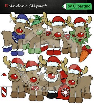 Christmas Reindeer clipart #2 includes 18 files PNG transparent background 9 color files+9 black white Size one file about 6 inch 300 dpi Original authoring technique, boldly use for commercial purposes. Create your own products and sell them. For personal and commercial use.