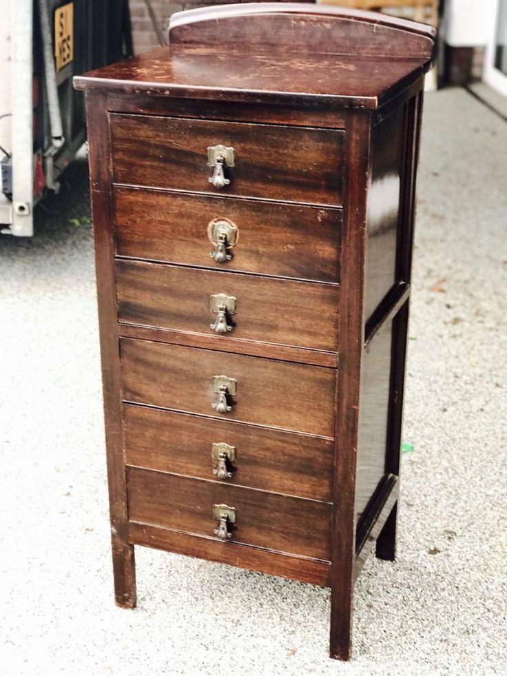 Старинная 6 ящики ноты шкаф комод   Антиквариат, Мебель, Шкафы и серванты   eBay!