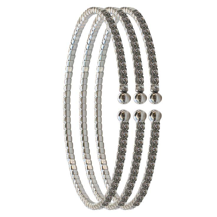 2mm Czech Crystal Bracelets Set of Three - Silver