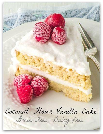 Coconut Flour Classic Vanilla Cake @ Healy Real Food Vegetarian #paleo #glutenfree #coconut #cake