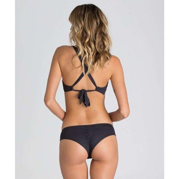Billabong Women's Sol Searcher Hawaii Cheeky Bottom ($35) ❤ liked on Polyvore featuring swimwear, bikinis, bikini bottoms, black sands, swim bottoms, scrunch bottom bikini, ruched bikini, ruched bottom bikini, billabong bikini and billabong swimwear