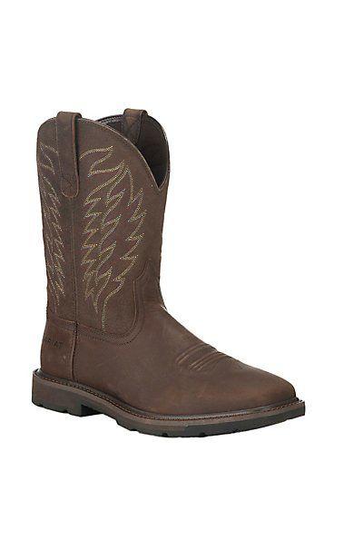 Ariat Work Men's Groundbreaker Brown with Western Square Steel Toe Work Boots | Cavender's