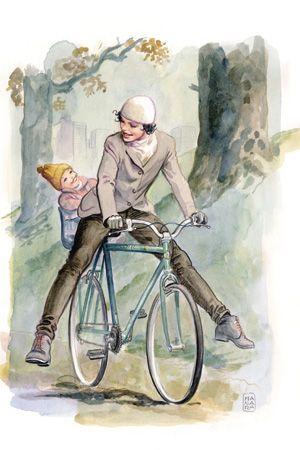 Made by: Milo Manara - (Father and Son on a Bike - Biking, Cycling)