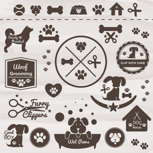 Pets vector dog icon set Free Vector