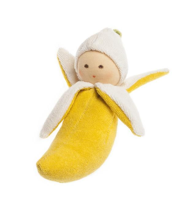 Eco baby rattle banana from Elves in the Wardrobe, an Australian based online clothing store offering the best organic baby & kids clothes + accessories https://presentbaby.com