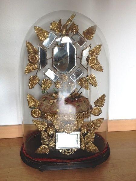 Riesiger Glasdome Antique Dome Schaukasten Globe de Mariee Napoleon RAR!