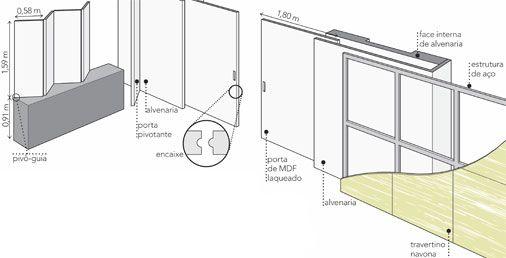 Cozinha: na passagem, a porta pivotante funciona isoladamente. As quatro folhas sobre o balcão de granito (4 mm) se articulam por dobradiças e correm por guias fixadas no trilho embutido no forro. O pivô-guia, preso na pedra e no teto, ajuda a movimentar o conjunto.Home Theater: se estão fechadas, as portas não deixam passar luz e som graças a um encaixe nas duas folhas. A parte da direita também fica embutida no painel (7 cm de espessura) com estrutura de aço e travertino.