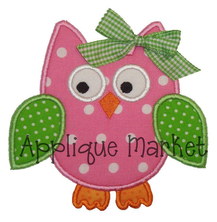 Free Applique Designs   Machine Embroidery Design Applique Owl 4 Sizes INSTANT DOWNLOAD