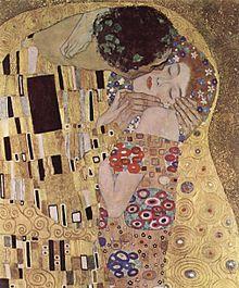 """Gustav Klimt: """"Der Kuss"""" (Ausschnitt), 1908"""