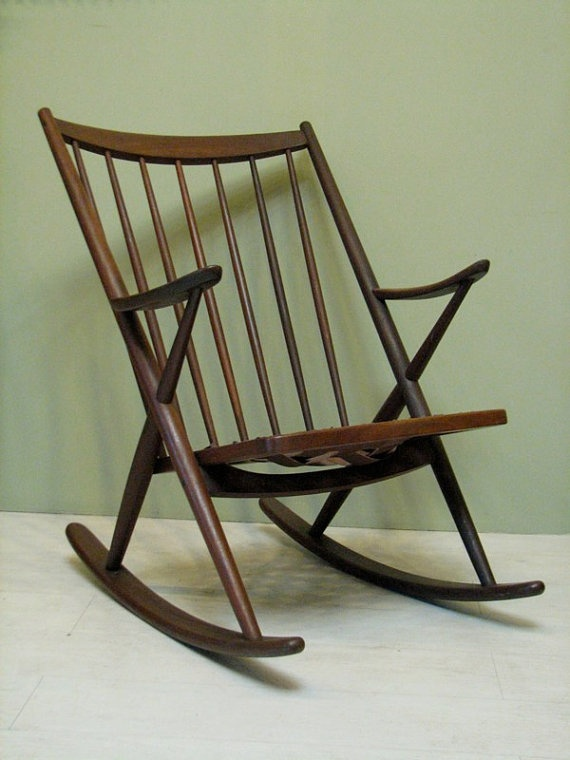 Mid Century Danish Modern Rocking Chair 1950s Vintage