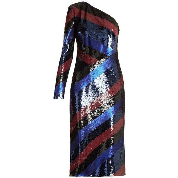 Diane Von Furstenberg One-shoulder striped sequin dress ($2,200) ❤ liked on Polyvore featuring dresses, navy stripe, sequined dress, navy cocktail dress, diane von furstenberg dress, navy blue sequin dresses and sequin cocktail dresses