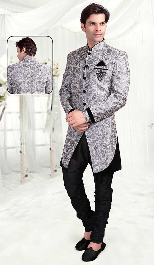 Add a touch of enigma to all auspicious occasions with this Grey Color Brocade Indo Western Style Outfits for Mens. all patterns are intricately embellished with thread work.
