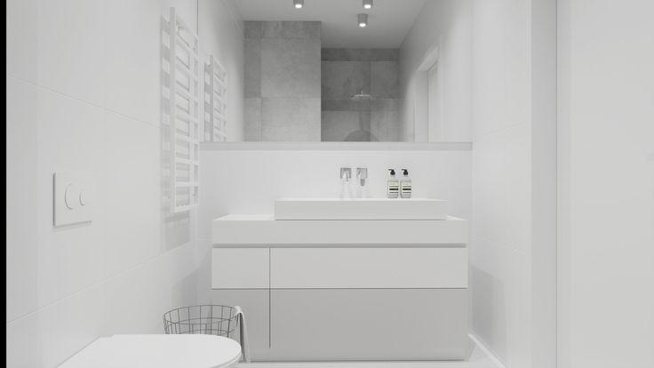Biała minimalistyczna łazienka. Minimalist  white bathroom.