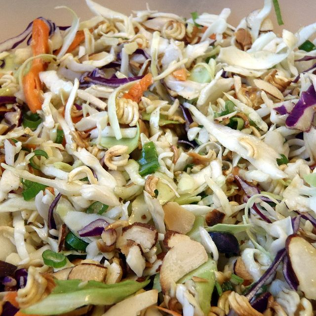 Ramen cabbage salad- nice blend of flavors and textures.  The noodles don't stay crunchy in the leftovers but are still good.