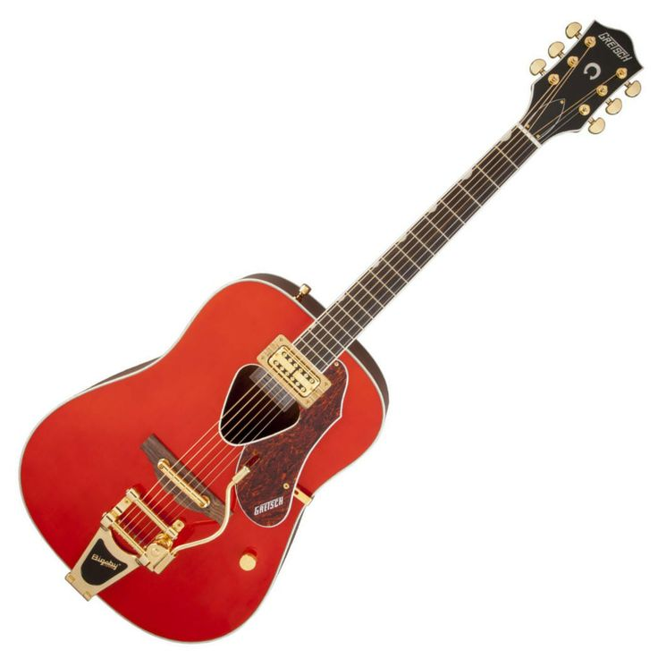 There is a lot of great new guitars and equipment being announced at the 2014 NAMM show and also some more unusual guitars such as this Rancher acoustic by Gretsch fitted with a Bigsby tailpiece, Triangular sound hole, Fideli'tron Pickup and gold hardware.