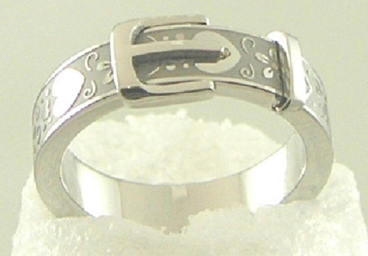 Silver Belt Buckle Ring Stainless Steel Heart Daisy Size 5 -10 Usa Seller