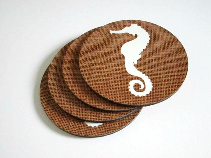 Rustic Coaster Set with Seahorse - Beach House or Nautical Decor Drink Coasters - Hostess, Housewarming or Wedding Gift by GoldenDaysDesigns on Etsy https://www.etsy.com/listing/199671392/rustic-coaster-set-with-seahorse-beach