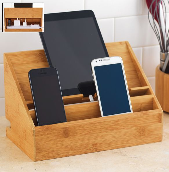 """Keep up to 6 electronics charged and neatly stored with our NEW Bamboo Charging Sation. The base holds up to a 10"""" power strip so you can place the unit flush against the wall."""