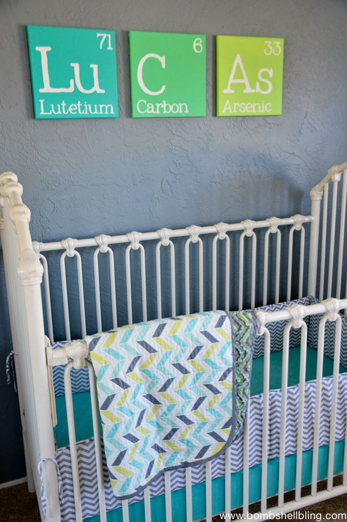 Totally obsessed with the periodic table name art in this retro inspired nursery!!