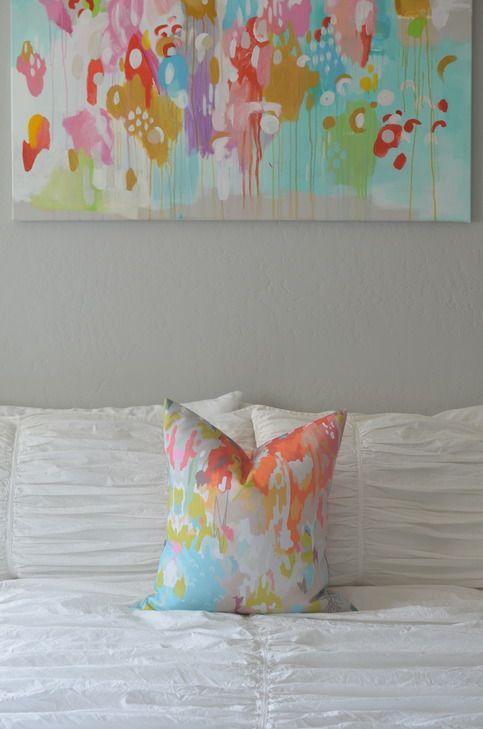 throw pillow in watercolor ikat