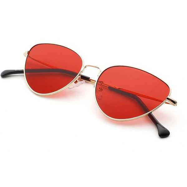 SheIn(sheinside) Oval Shaped Flat Lens Sunglasses ($9) ❤ liked on Polyvore featuring accessories, eyewear, sunglasses, retro glasses, retro sunglasses, red glasses, red sunglasses and retro style sunglasses