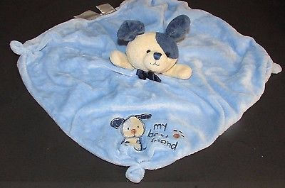 Carters Blue MY BEST FRIEND Puppy Dog Security Blanket RATTLE Lovey pawprint