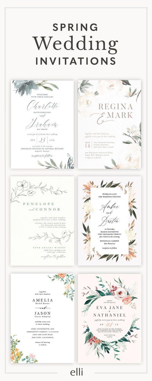 Wedding Invitations | Elli | Spring wedding invitations, Wedding ...