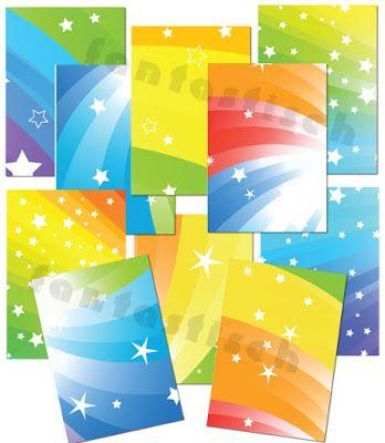 Портфолио для детского садика и школы: Радужные фоны для оформления работ