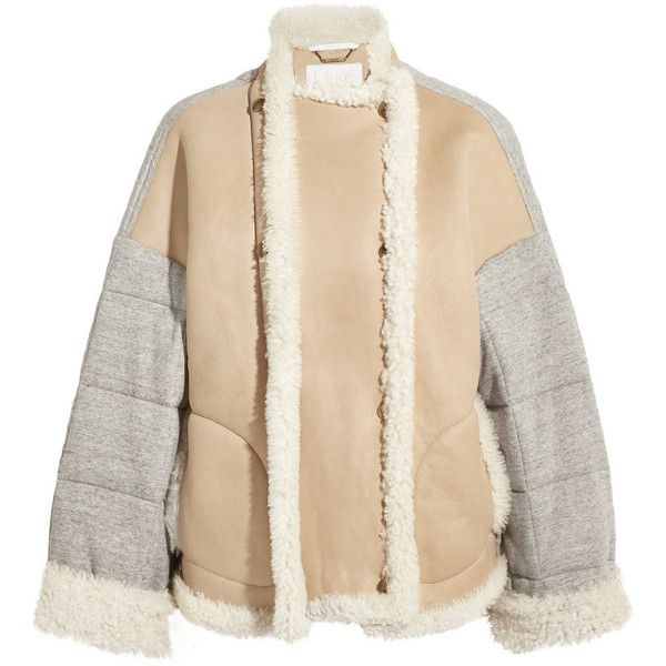 Chloé Oversized shearling and quilted cotton-jersey jacket (5 590 BGN) ❤ liked on Polyvore featuring outerwear, jackets, chloe, cotton jersey, oversized shearling jacket, quilted jacket, shearling jacket and double breasted jacket