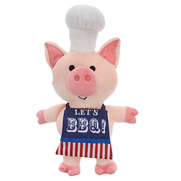 Top Paw Americana Pig Cook Dog Toy Plush Squeaker Dog Plush