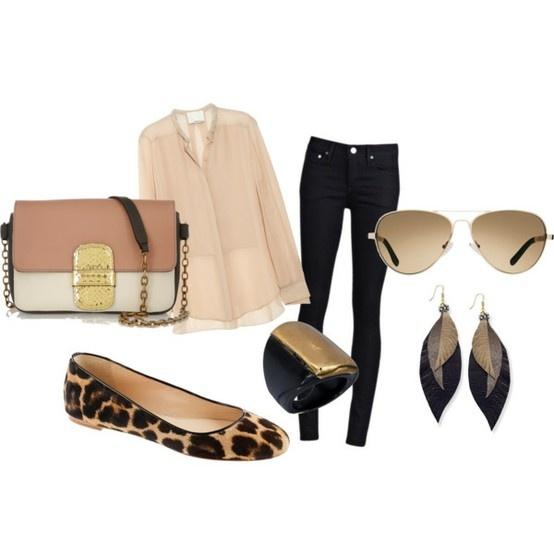 black jeans, tan shirt, leopard shoes