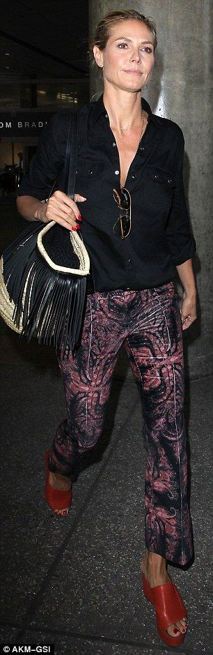 Fashion forward: The America's Got Talent host donned a black blouse and black trousers wi...