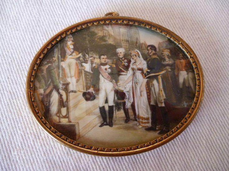 Miniatur Lupenmalerei a edlem Bein n Gosse Napoleon empfängt Luise Zar Alexander