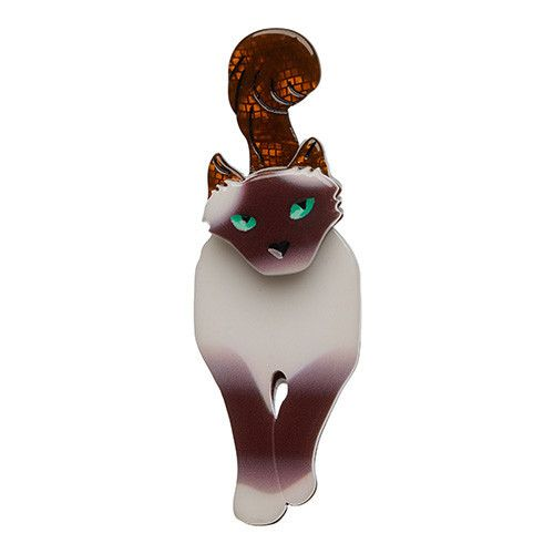 Lena Green-Eyed Birman (Erstwilder Light Brown Resin Cat Brooch), now available. Hand assembled and hand painted, presented in a branded box.