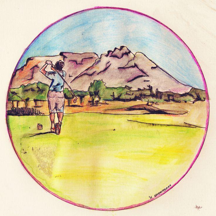 Golfer, playing golf. Cirkel wereld tekening. Drawing/illustration made by Grietje Drooglever  www.fotootjevandaag.wordpress.com