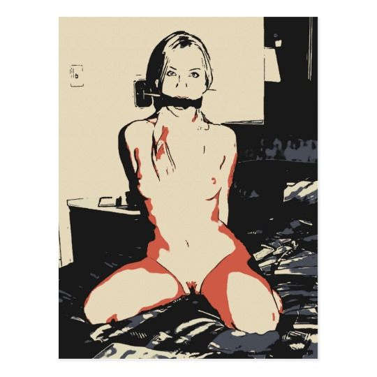 NSFW Sexy blonde girl bdsm erotic art ball gagged Postcard