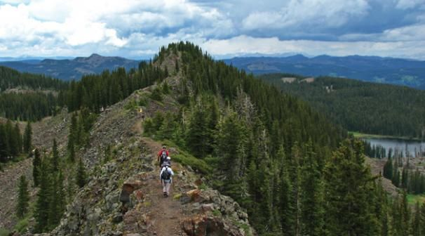 The Crag's Crest trail in Grand Mesa is one of the area's most dramatic trails. East of Grand Junction, CO.