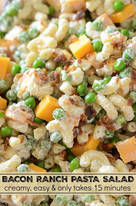 Bacon Ranch Pasta Salad: a quick, easy and creamy pasta salad with cheddar cheese, bacon, peas and ranch seasoning all tossed together for a great potluck dish!