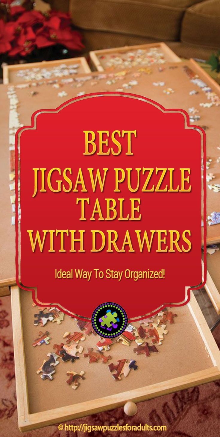 If you're looking for the Best Jigsaw Puzzle Table with drawers, you'll really like this jigsaw puzzle board with drawers that helps with sorting colors and pieces of your jigsaw puzzle. It comes in different 2 sizes and can accommodate 1000 to 1500 piece puzzles.