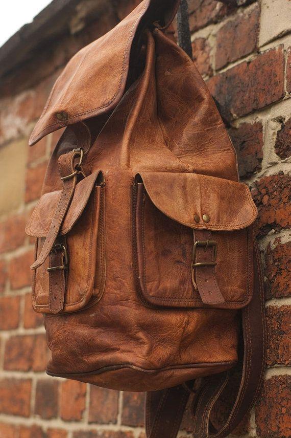 Tanned Leather Backpack RuckSack Leather Hiking Bag Women backpack Men Backpack on Etsy, $67.00
