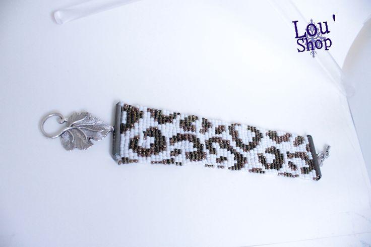 Bracelet manchette léopard tissée en perles de rocaille