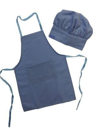Kids Chef Hat Apron Set Chefskin Baby Toddler Blue Sapphire Apron and Hat