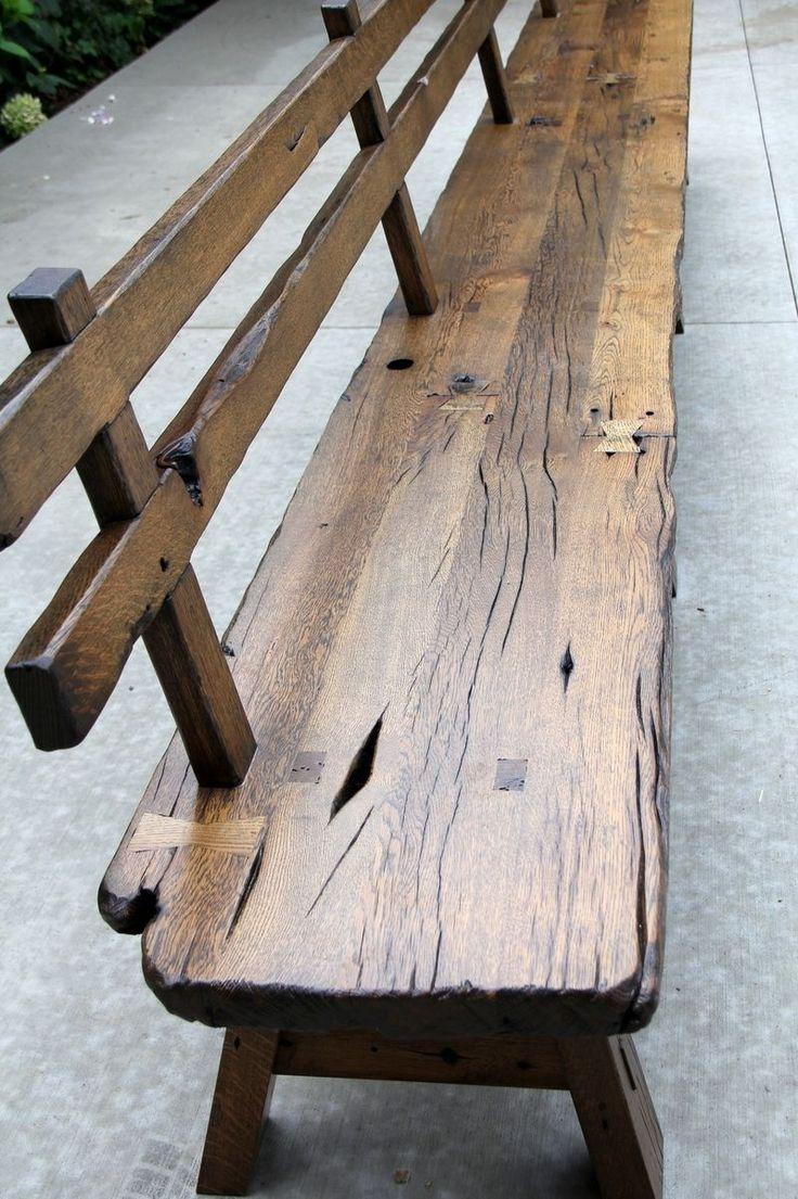 Custom Made Live Edge Barnwood Bench With Back Rest – 15' Long