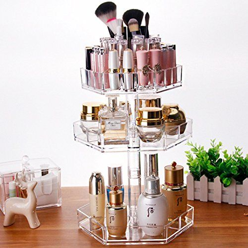 3 Tier Acrylic Cosmetic Makeup Jewelry 360 degree Rotating Storage Organizer Case (Clear)  #affiliate